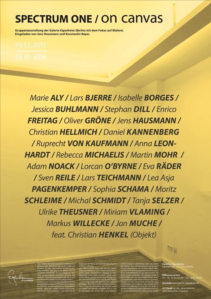 Jens Hausmann SPECTRUM ONE / ON CANVAS - GALERIE EIGENHEIM / BERLIN 2015